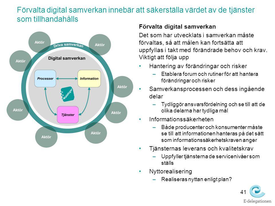 Förvalta digital samverkan innebär att säkerställa värdet av de tjänster som tillhandahålls 41 Förvalta digital samverkan Det som har utvecklats i sam