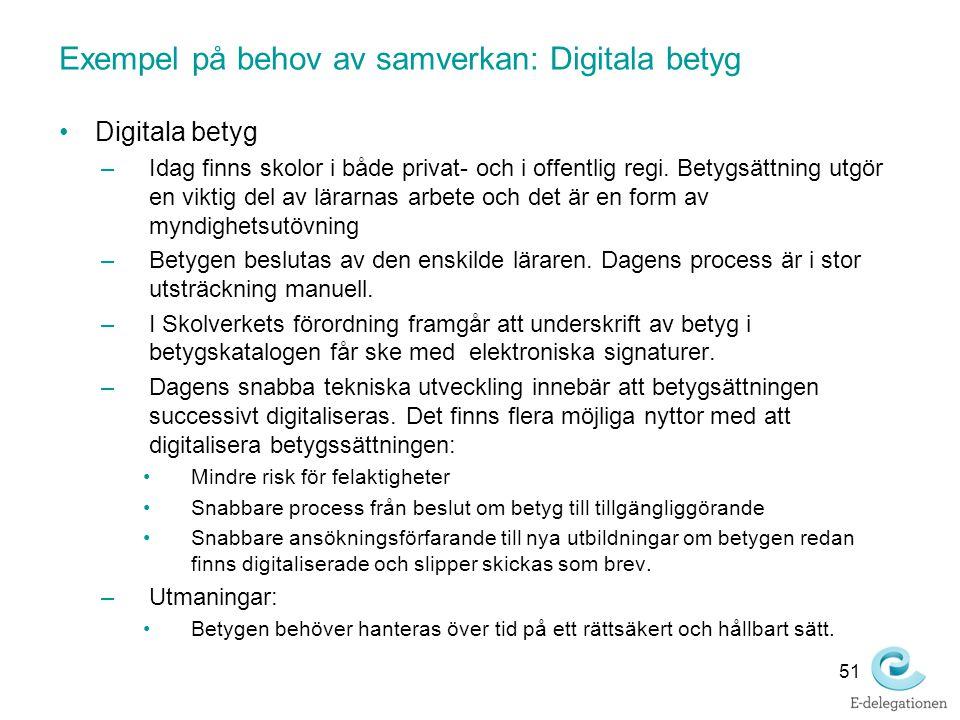 Exempel på behov av samverkan: Digitala betyg Digitala betyg –Idag finns skolor i både privat- och i offentlig regi. Betygsättning utgör en viktig del