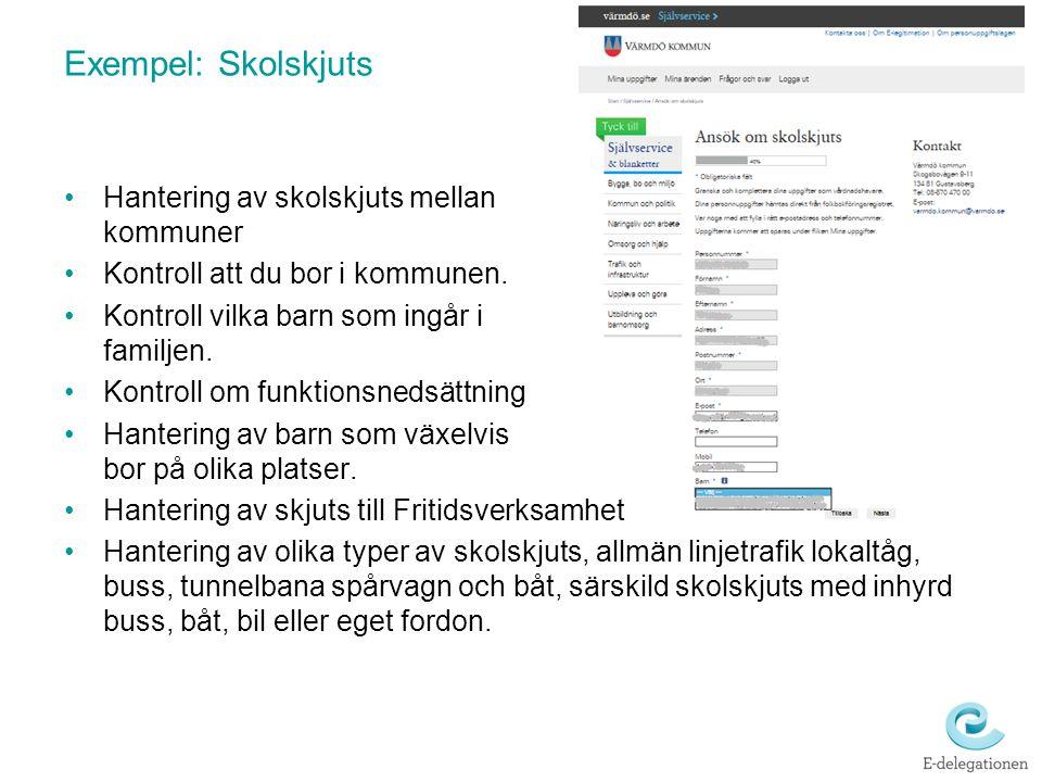 Exempel: Skolskjuts Hantering av skolskjuts mellan kommuner Kontroll att du bor i kommunen. Kontroll vilka barn som ingår i familjen. Kontroll om funk