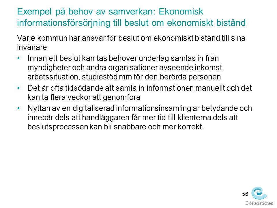 Exempel på behov av samverkan: Ekonomisk informationsförsörjning till beslut om ekonomiskt bistånd Varje kommun har ansvar för beslut om ekonomiskt bi