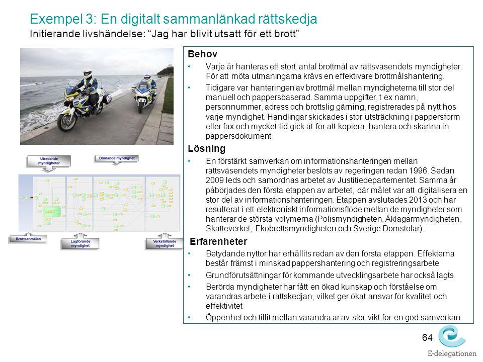"""Exempel 3: En digitalt sammanlänkad rättskedja Initierande livshändelse: """"Jag har blivit utsatt för ett brott"""" Behov Varje år hanteras ett stort antal"""