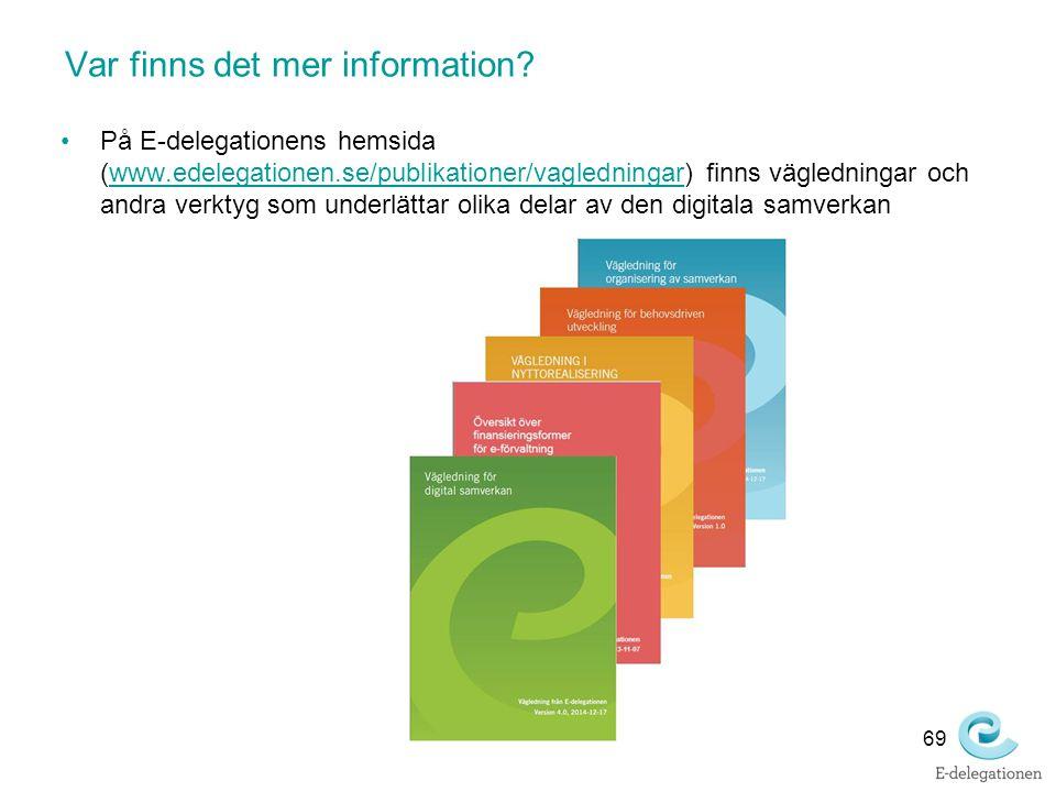 Var finns det mer information? På E-delegationens hemsida (www.edelegationen.se/publikationer/vagledningar) finns vägledningar och andra verktyg som u
