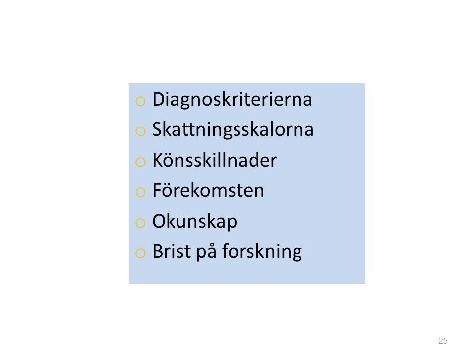 o Diagnoskriterierna o Skattningsskalorna o Könsskillnader o Förekomsten o Okunskap o Brist på forskning 25