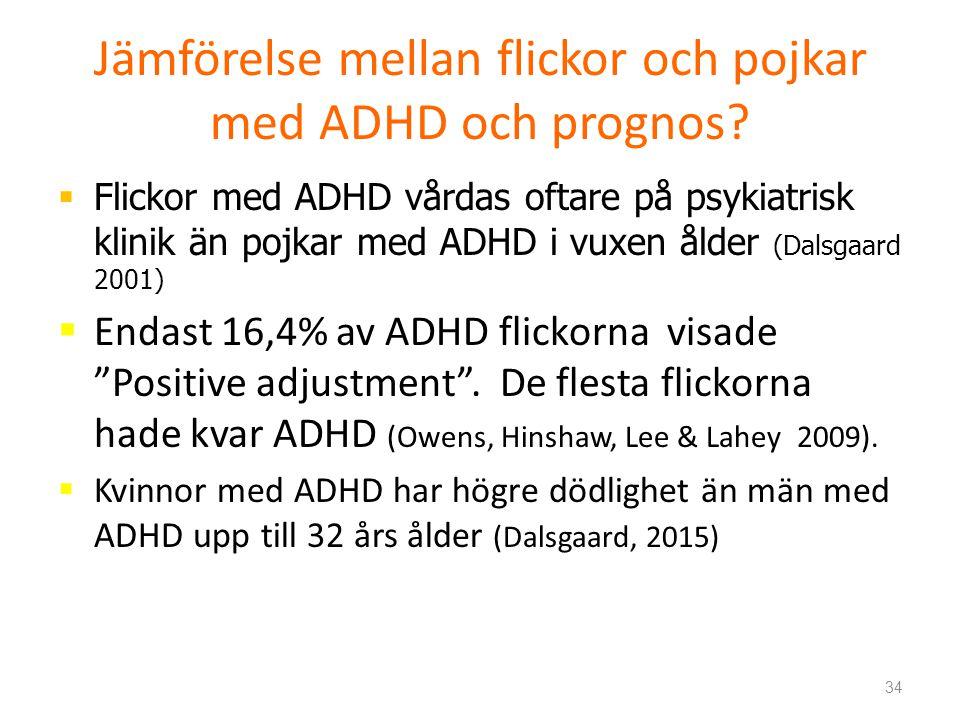 Jämförelse mellan flickor och pojkar med ADHD och prognos.