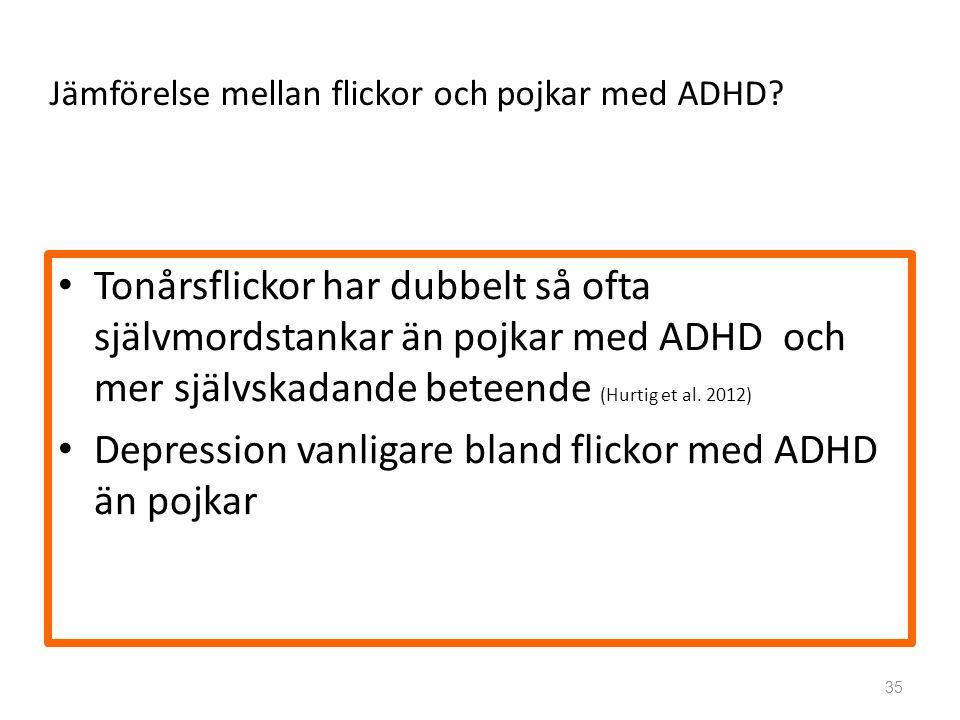 Jämförelse mellan flickor och pojkar med ADHD.