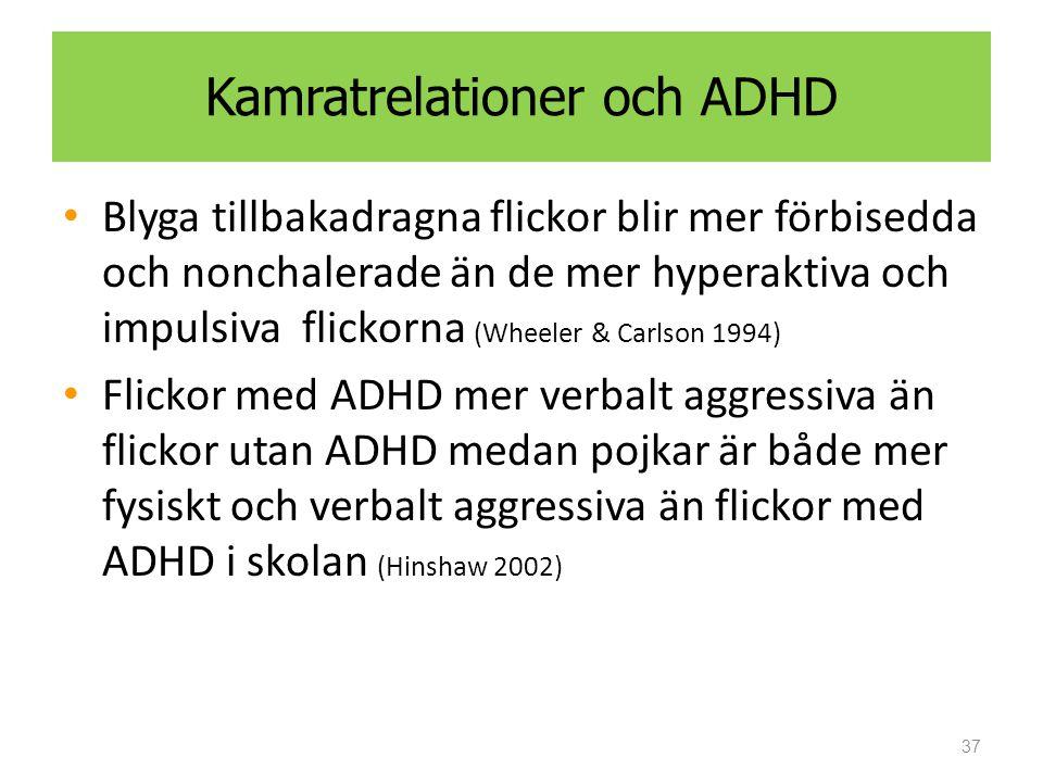 Kamratrelationer och ADHD Blyga tillbakadragna flickor blir mer förbisedda och nonchalerade än de mer hyperaktiva och impulsiva flickorna (Wheeler & Carlson 1994) Flickor med ADHD mer verbalt aggressiva än flickor utan ADHD medan pojkar är både mer fysiskt och verbalt aggressiva än flickor med ADHD i skolan (Hinshaw 2002) 37