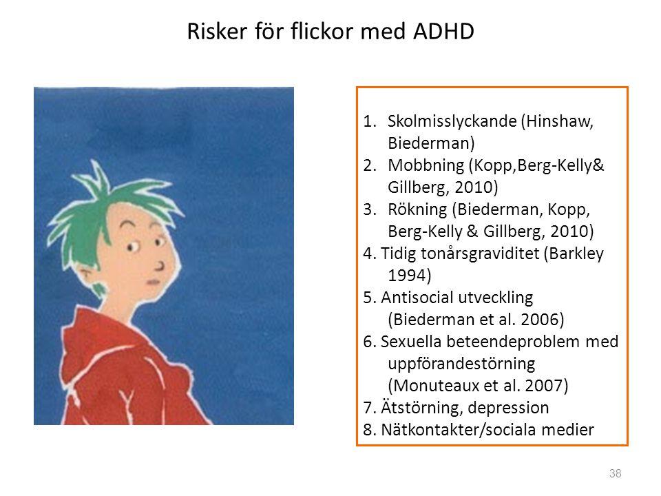 Risker för flickor med ADHD 38 1.Skolmisslyckande (Hinshaw, Biederman) 2.Mobbning (Kopp,Berg-Kelly& Gillberg, 2010) 3.Rökning (Biederman, Kopp, Berg-Kelly & Gillberg, 2010) 4.