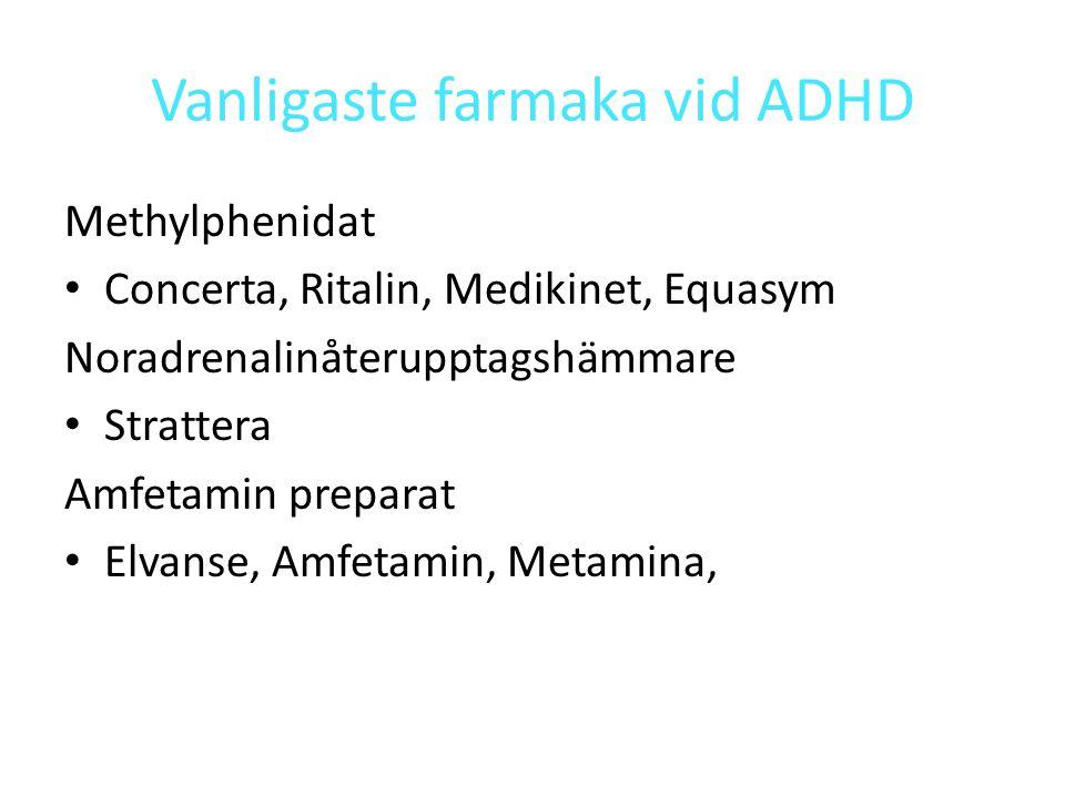 Vanligaste farmaka vid ADHD Methylphenidat Concerta, Ritalin, Medikinet, Equasym Noradrenalinåterupptagshämmare Strattera Amfetamin preparat Elvanse, Amfetamin, Metamina,