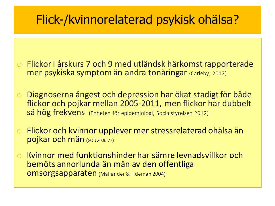Flick-/kvinnorelaterad psykisk ohälsa.