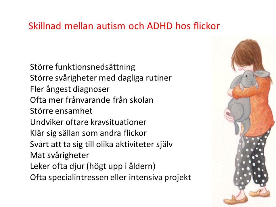 Skillnad mellan autism och ADHD hos flickor Större funktionsnedsättning Större svårigheter med dagliga rutiner Fler ångest diagnoser Ofta mer frånvarande från skolan Större ensamhet Undviker oftare kravsituationer Klär sig sällan som andra flickor Svårt att ta sig till olika aktiviteter själv Mat svårigheter Leker ofta djur (högt upp i åldern) Ofta specialintressen eller intensiva projekt 61
