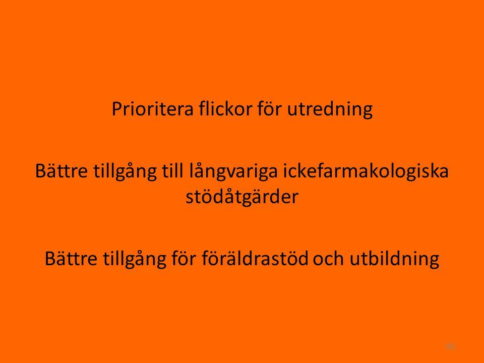 Prioritera flickor för utredning Bättre tillgång till långvariga ickefarmakologiska stödåtgärder Bättre tillgång för föräldrastöd och utbildning 68