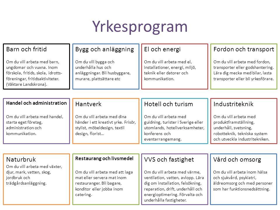 Yrkesprogram Barn och fritid Om du vill arbeta med barn, ungdomar och vuxna. Inom förskola, fritids, skola, idrotts- föreningar, fritidsaktiviteter. (