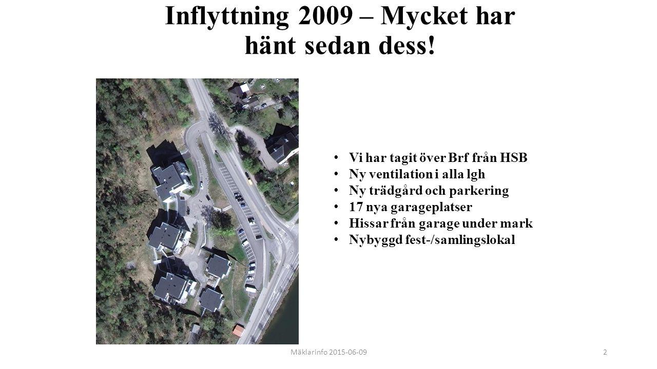 Inflyttning 2009 – Mycket har hänt sedan dess! Mäklarinfo 2015-06-092 Vi har tagit över Brf från HSB Ny ventilation i alla lgh Ny trädgård och parkeri