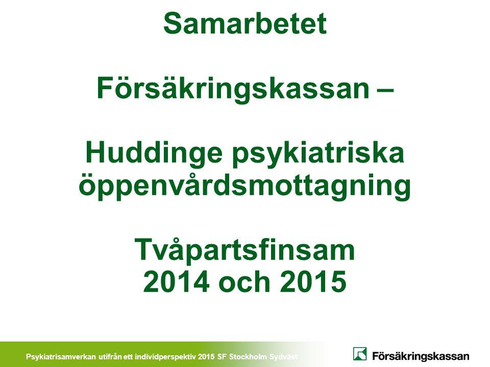 Psykiatrisamverkan utifrån ett individperspektiv 2015 SF Stockholm Sydväst Samarbetet Försäkringskassan – Huddinge psykiatriska öppenvårdsmottagning T