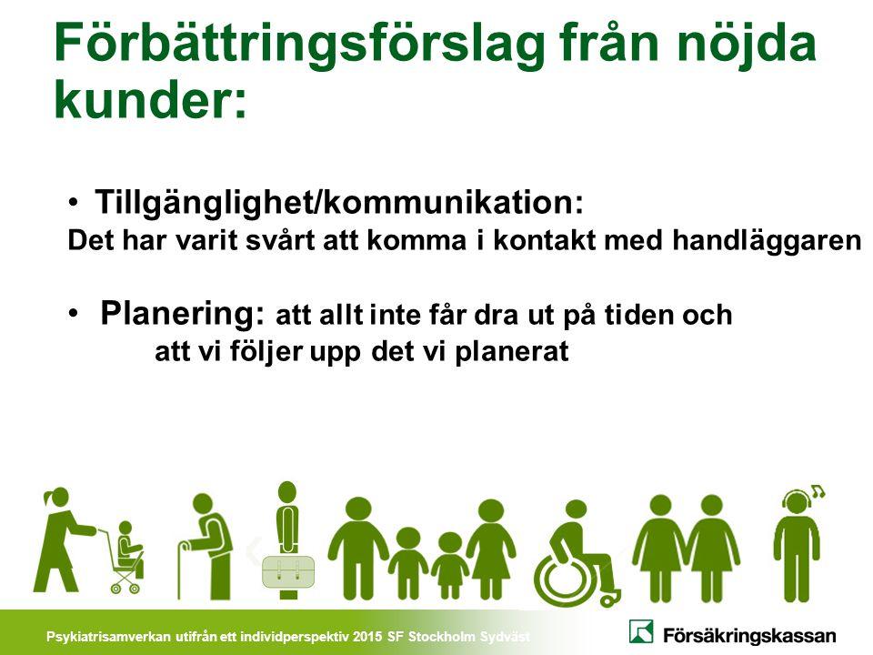 Psykiatrisamverkan utifrån ett individperspektiv 2015 SF Stockholm Sydväst Förbättringsförslag från nöjda kunder: Tillgänglighet/kommunikation: Det ha