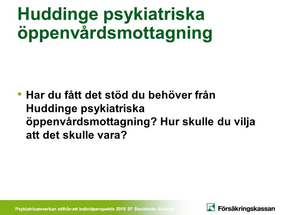 Psykiatrisamverkan utifrån ett individperspektiv 2015 SF Stockholm Sydväst Huddinge psykiatriska öppenvårdsmottagning Har du fått det stöd du behöver