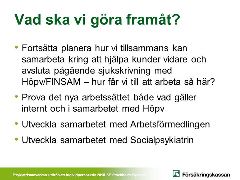 Psykiatrisamverkan utifrån ett individperspektiv 2015 SF Stockholm Sydväst Vad ska vi göra framåt? Fortsätta planera hur vi tillsammans kan samarbeta