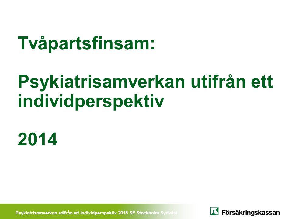 Psykiatrisamverkan utifrån ett individperspektiv 2015 SF Stockholm Sydväst Vad är syfte/målet med projektet.