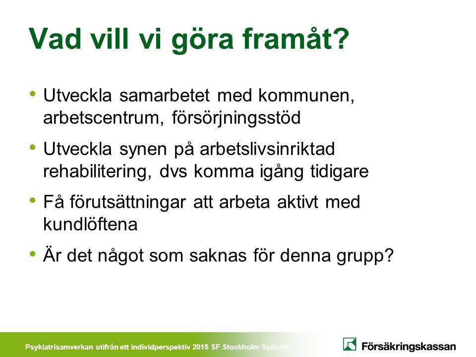 Psykiatrisamverkan utifrån ett individperspektiv 2015 SF Stockholm Sydväst Vad vill vi göra framåt? Utveckla samarbetet med kommunen, arbetscentrum, f