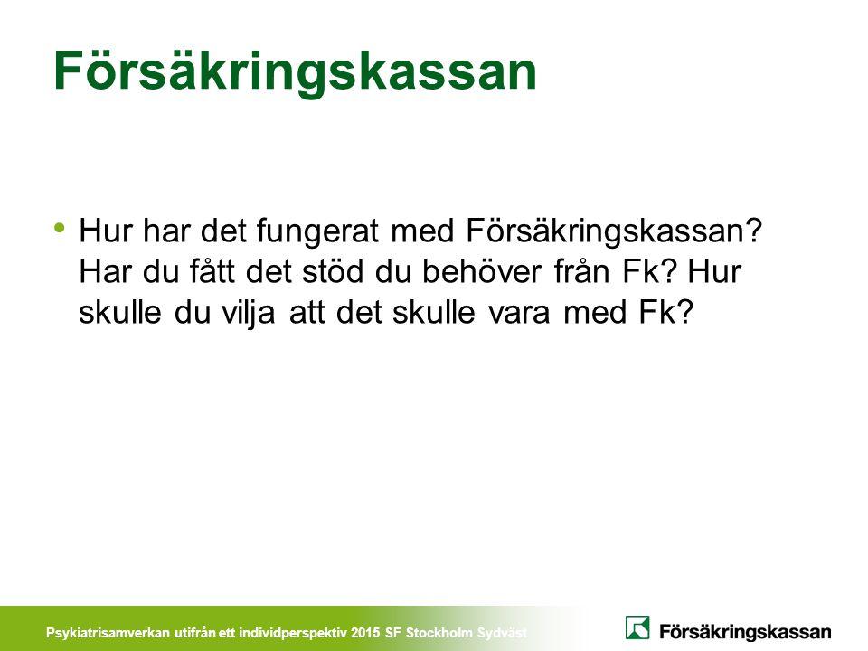 Psykiatrisamverkan utifrån ett individperspektiv 2015 SF Stockholm Sydväst Försäkringskassan Hur har det fungerat med Försäkringskassan? Har du fått d