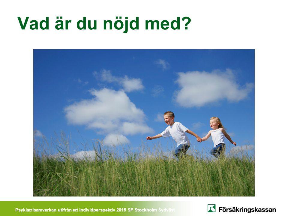 Psykiatrisamverkan utifrån ett individperspektiv 2015 SF Stockholm Sydväst Vad ska vi göra framåt.