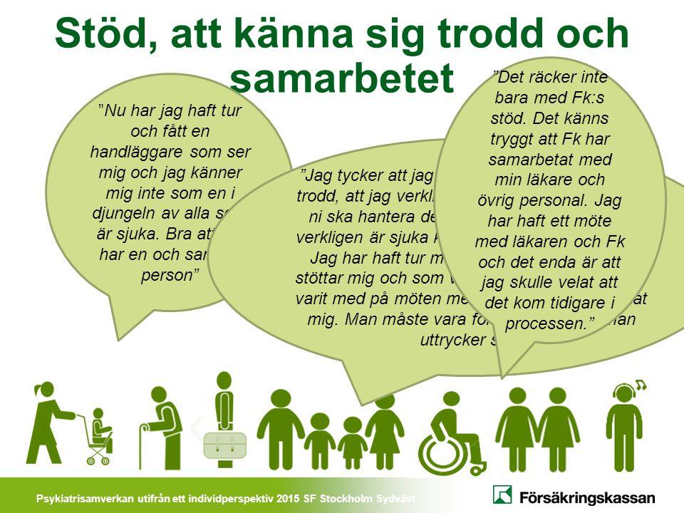 Psykiatrisamverkan utifrån ett individperspektiv 2015 SF Stockholm Sydväst Förbättringsförslag från nöjda kunder: Tillgänglighet/kommunikation: Det har varit svårt att komma i kontakt med handläggaren Planering: att allt inte får dra ut på tiden och att vi följer upp det vi planerat