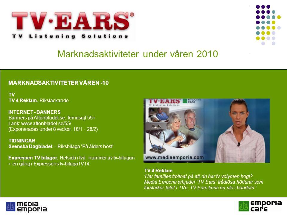 Marknadsaktiviteter under våren 2010 MARKNADSAKTIVITETER VÅREN -10 TV TV 4 Reklam.