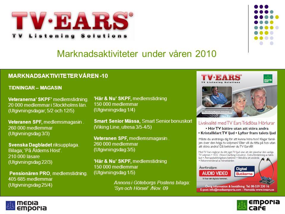 Marknadsaktiviteter under våren 2010 ÖVRIGA MARKNADSAKTIVITETER VÅREN -10 INTERNET + FÖRMÅNSKORT Smart Senior - Smartsenior.se - Förmånskort till Sveriges Pensionärer TV Ears medverkar som produkt på Smart Senior-kortet till Sveriges pensionärer.