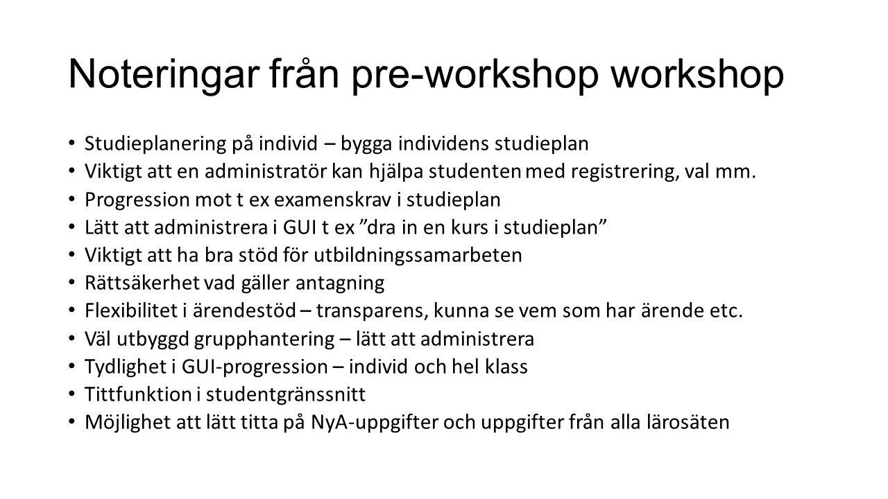 Noteringar från pre-workshop workshop Studieplanering på individ – bygga individens studieplan Viktigt att en administratör kan hjälpa studenten med registrering, val mm.