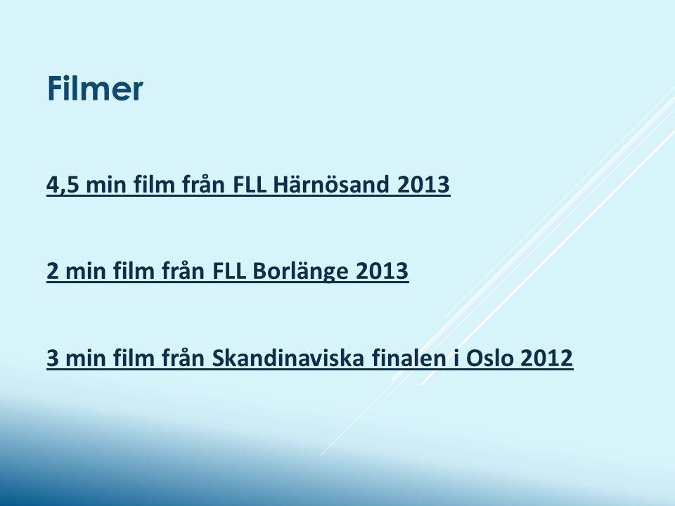4,5 min film från FLL Härnösand 2013 2 min film från FLL Borlänge 2013 3 min film från Skandinaviska finalen i Oslo 2012 Filmer