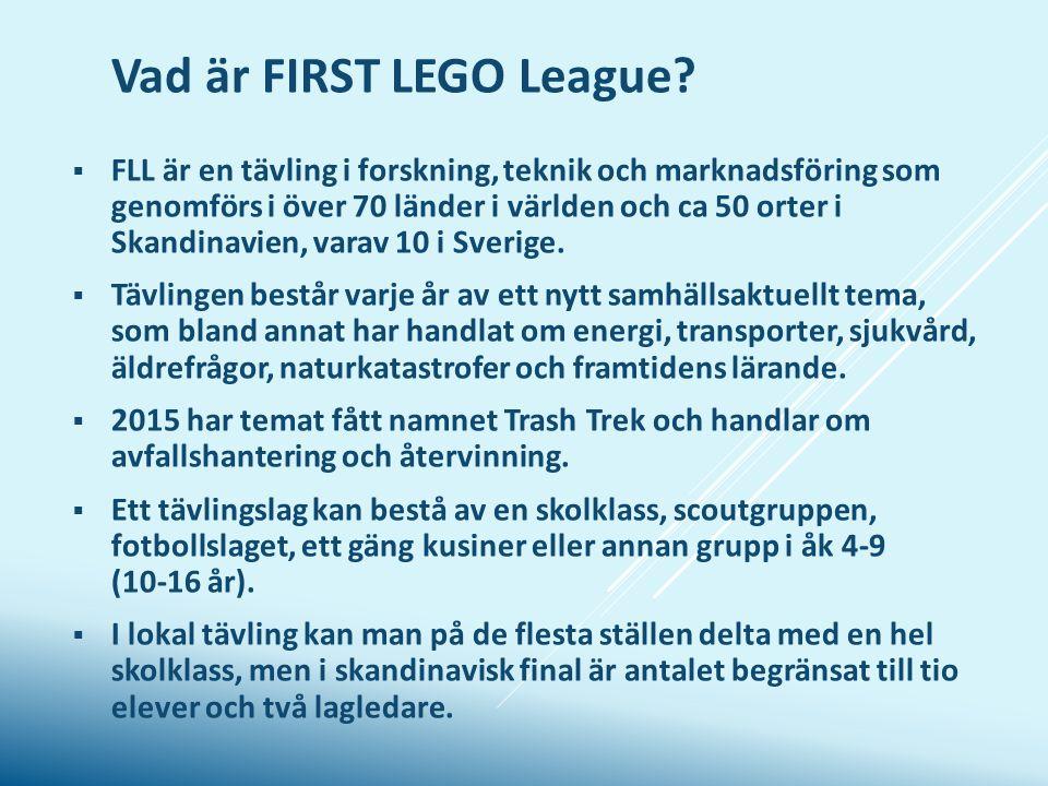 Vad är FIRST LEGO League?  FLL är en tävling i forskning, teknik och marknadsföring som genomförs i över 70 länder i världen och ca 50 orter i Skandi