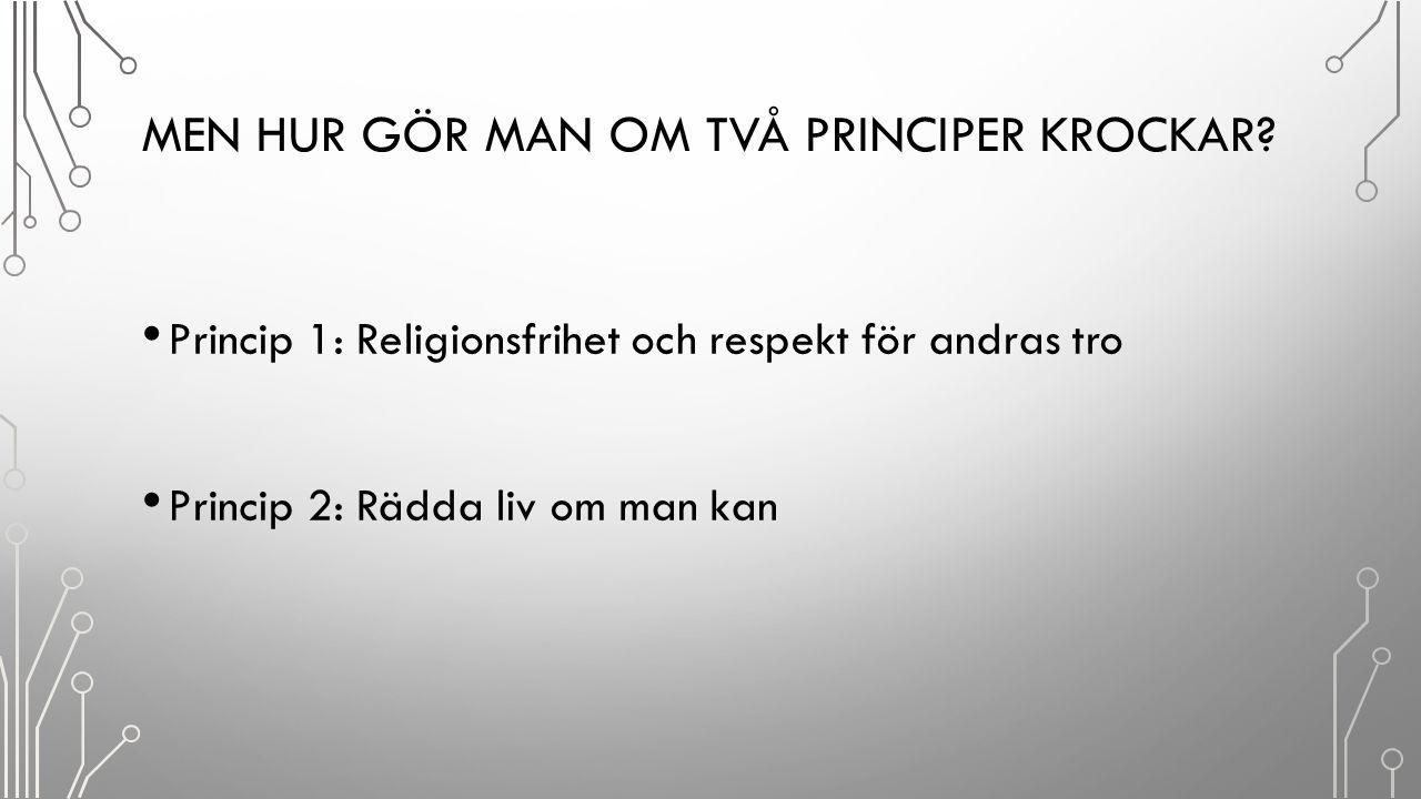 MEN HUR GÖR MAN OM TVÅ PRINCIPER KROCKAR? Princip 1: Religionsfrihet och respekt för andras tro Princip 2: Rädda liv om man kan 10