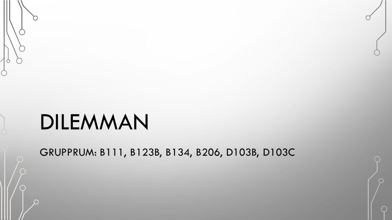 DILEMMAN GRUPPRUM: B111, B123B, B134, B206, D103B, D103C