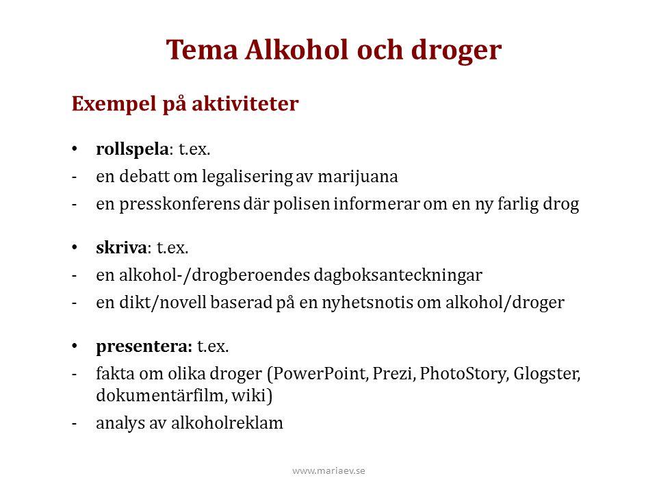 Tema Alkohol och droger Exempel på aktiviteter rollspela: t.ex. -en debatt om legalisering av marijuana -en presskonferens där polisen informerar om e