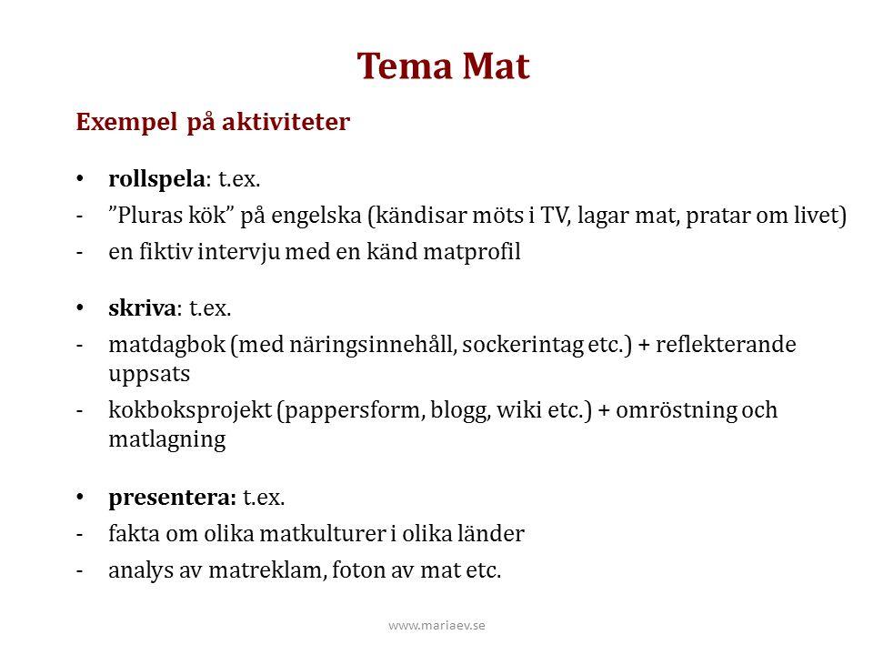 """Tema Mat Exempel på aktiviteter rollspela: t.ex. -""""Pluras kök"""" på engelska (kändisar möts i TV, lagar mat, pratar om livet) -en fiktiv intervju med en"""