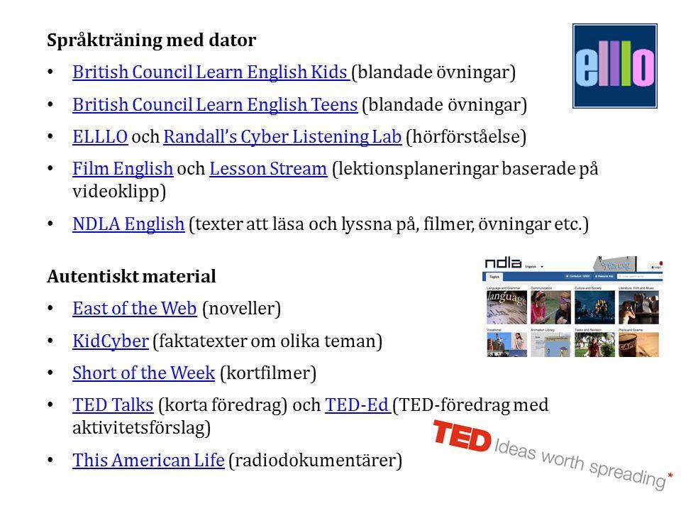 Språkträning med dator British Council Learn English Kids (blandade övningar) British Council Learn English Kids British Council Learn English Teens (