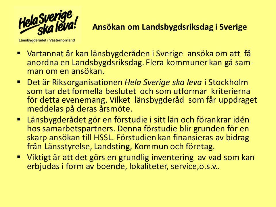 Ansökan om Landsbygdsriksdag i Sverige  Vartannat år kan länsbygderåden i Sverige ansöka om att få anordna en Landsbygdsriksdag.