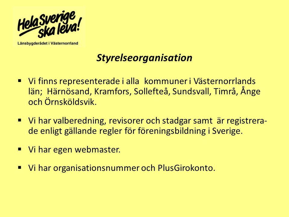 Styrelseorganisation  Vi finns representerade i alla kommuner i Västernorrlands län; Härnösand, Kramfors, Sollefteå, Sundsvall, Timrå, Ånge och Örnsköldsvik.