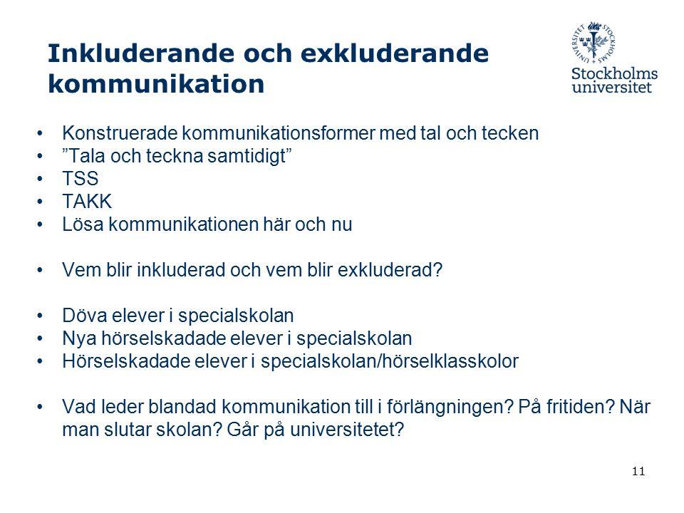"""Inkluderande och exkluderande kommunikation Konstruerade kommunikationsformer med tal och tecken """"Tala och teckna samtidigt"""" TSS TAKK Lösa kommunikati"""