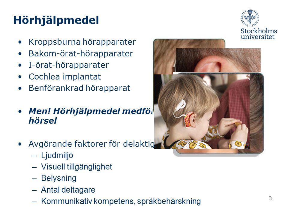 Hörhjälpmedel Kroppsburna hörapparater Bakom-örat-hörapparater I-örat-hörapparater Cochlea implantat Benförankrad hörapparat Men! Hörhjälpmedel medför