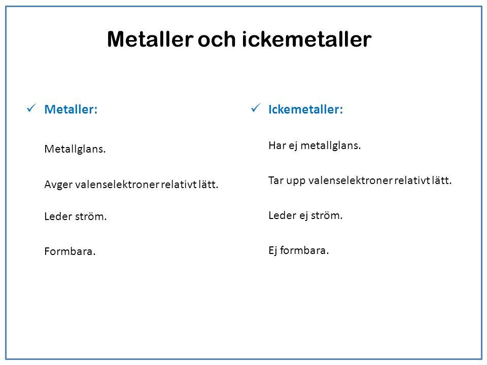 Metaller och ickemetaller Metaller: Metallglans. Avger valenselektroner relativt lätt. Leder ström. Formbara. Ickemetaller: Har ej metallglans. Tar up