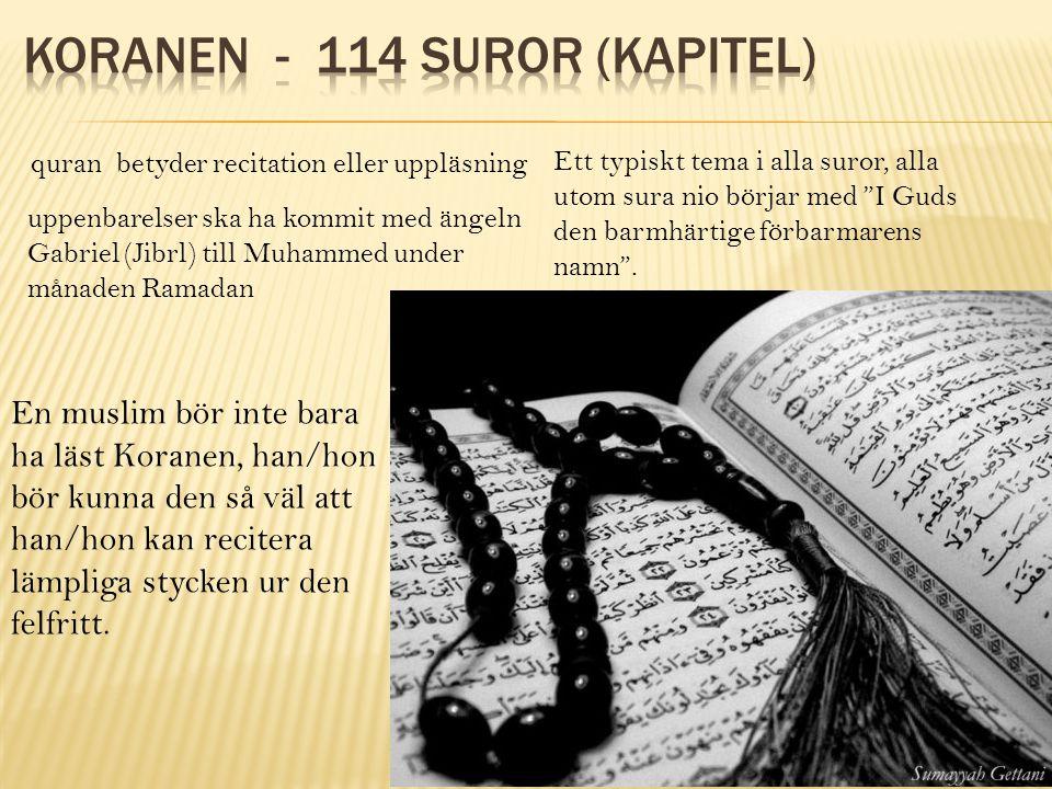 quran betyder recitation eller uppläsning uppenbarelser ska ha kommit med ängeln Gabriel (Jibrl) till Muhammed under månaden Ramadan Ett typiskt tema i alla suror, alla utom sura nio börjar med I Guds den barmhärtige förbarmarens namn .