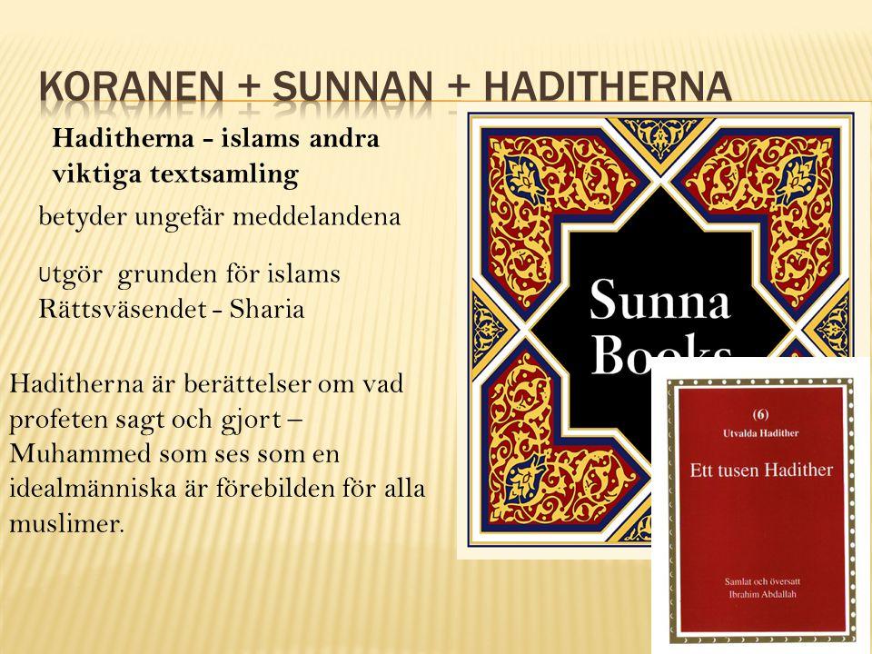 Haditherna - islams andra viktiga textsamling betyder ungefär meddelandena U tgör grunden för islams Rättsväsendet - Sharia Haditherna är berättelser om vad profeten sagt och gjort – Muhammed som ses som en idealmänniska är förebilden för alla muslimer.