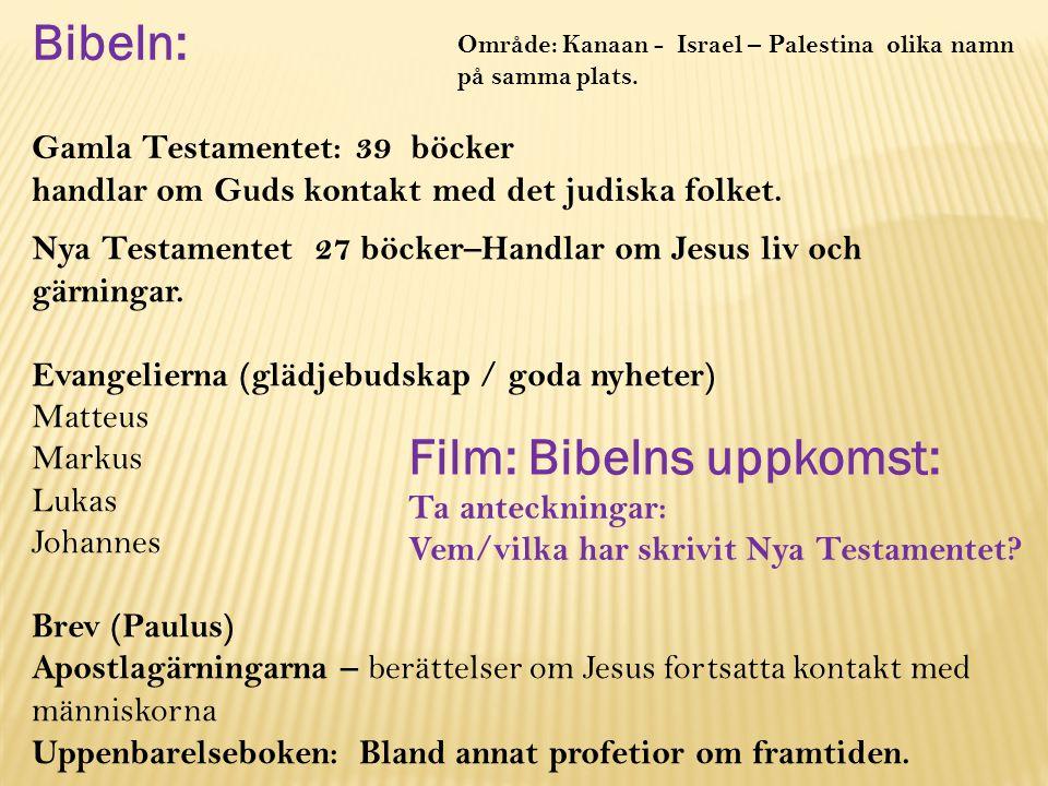 Bibeln: Gamla Testamentet: 39 böcker handlar om Guds kontakt med det judiska folket.