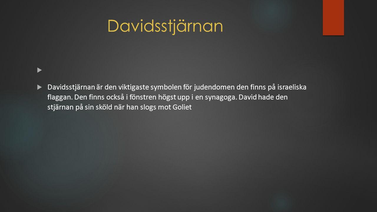 Davidsstjärnan   Davidsstjärnan är den viktigaste symbolen för judendomen den finns på israeliska flaggan. Den finns också i fönstren högst upp i en