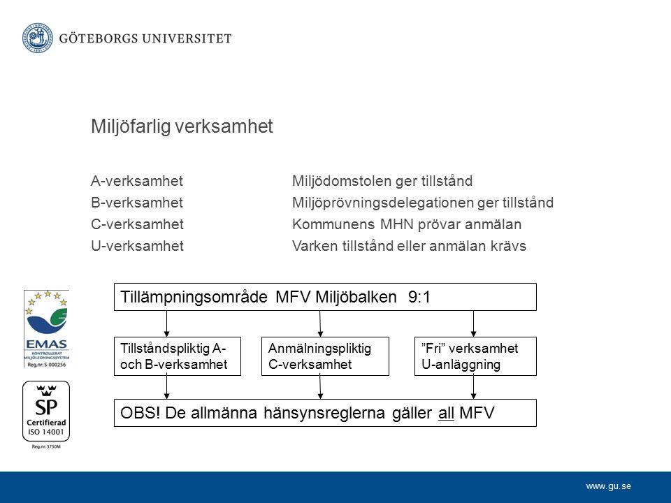 www.gu.se Miljöfarlig verksamhet A-verksamhetMiljödomstolen ger tillstånd B-verksamhetMiljöprövningsdelegationen ger tillstånd C-verksamhetKommunens M