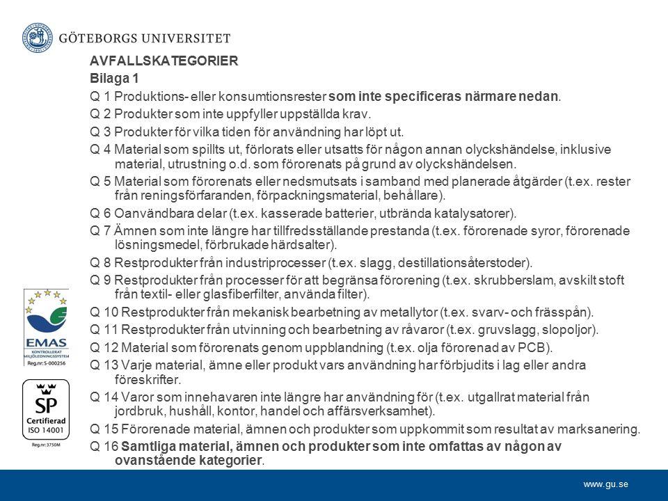www.gu.se AVFALLSKATEGORIER Bilaga 1 Q 1 Produktions- eller konsumtionsrester som inte specificeras närmare nedan. Q 2 Produkter som inte uppfyller up