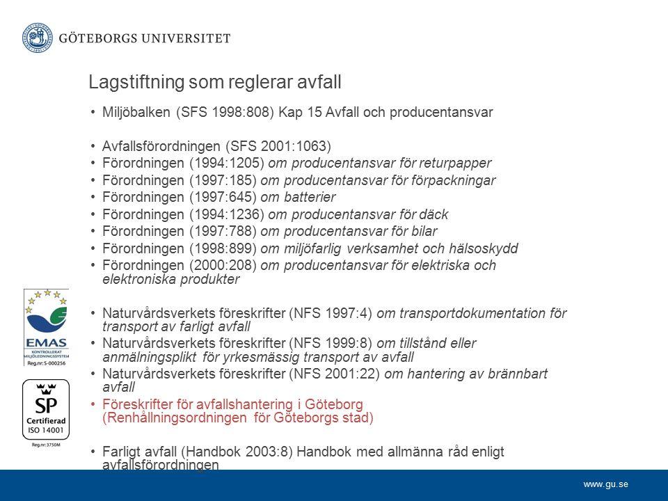 www.gu.se Lagstiftning som reglerar avfall Miljöbalken (SFS 1998:808) Kap 15 Avfall och producentansvar Avfallsförordningen (SFS 2001:1063) Förordningen (1994:1205) om producentansvar för returpapper Förordningen (1997:185) om producentansvar för förpackningar Förordningen (1997:645) om batterier Förordningen (1994:1236) om producentansvar för däck Förordningen (1997:788) om producentansvar för bilar Förordningen (1998:899) om miljöfarlig verksamhet och hälsoskydd Förordningen (2000:208) om producentansvar för elektriska och elektroniska produkter Naturvårdsverkets föreskrifter (NFS 1997:4) om transportdokumentation för transport av farligt avfall Naturvårdsverkets föreskrifter (NFS 1999:8) om tillstånd eller anmälningsplikt för yrkesmässig transport av avfall Naturvårdsverkets föreskrifter (NFS 2001:22) om hantering av brännbart avfall Föreskrifter för avfallshantering i Göteborg (Renhållningsordningen för Göteborgs stad) Farligt avfall (Handbok 2003:8) Handbok med allmänna råd enligt avfallsförordningen
