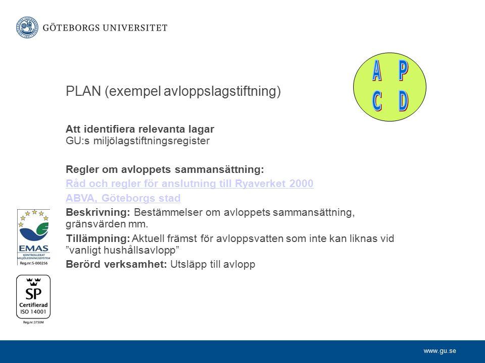 www.gu.se PLAN (exempel avloppslagstiftning) Att identifiera relevanta lagar GU:s miljölagstiftningsregister Regler om avloppets sammansättning: Råd o