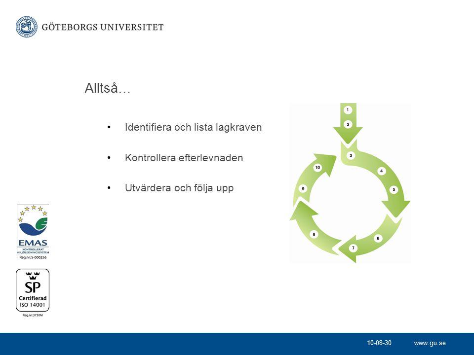 www.gu.se Alltså… Identifiera och lista lagkraven Kontrollera efterlevnaden Utvärdera och följa upp 10-08-30